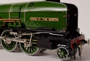 "Fitzroy Loco Works  ""Cock O' The North"" prototype in tinplate O gauge front view"